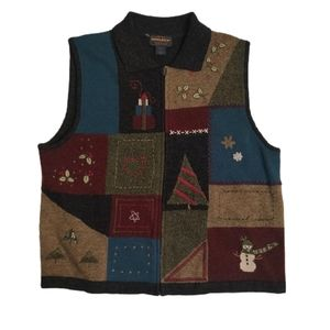 Woolrich Lambswool Winter Patchwork Sweater Vest